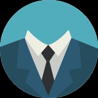 En tecknad kostym med slips