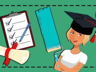 En tecknad målare med studentmössa invid en checklista och ett diplom