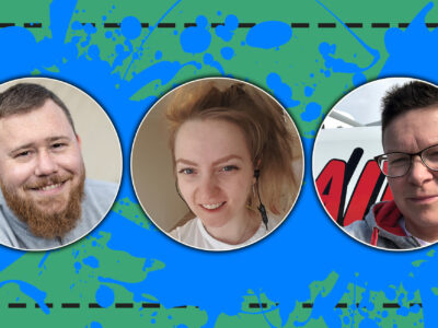 Bilder på Målarna Ricky Johansson, Tina Löfgren och Louise Winbo-Nord monterade över en stor, blå, tecknad färgklick