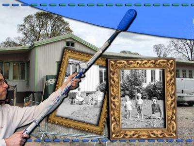 Petterslund sedd utifrån i nutid, med svartvita bilder på hur det såg ut på 40-talet inklippta. Över allt är ett foto monterat av Peter Lager som målar med en blå roller.