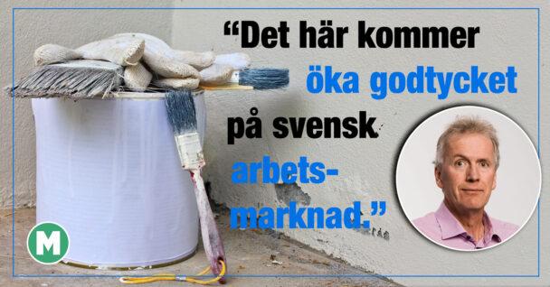 En färgburk och en bild på Mikael Johansson, invid texten: Det här kommer öka godtycket på svensk arbetsmarknad.
