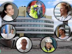 Bilder på målare från de olika reportagen monterade över en bild på en byggnad i Kiruna.