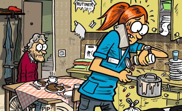 En tecknad bild av en person i sköterskekläder som skyndar sig att koma mat medan en gammal person gråter i bakgrunden.