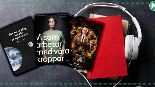 Bilder på omslagen till två böcker och serien Loke, monterade ovanpå en bild på hörlurar och böcker
