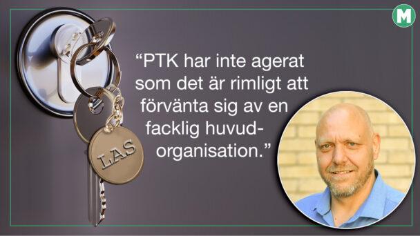 """En bild på Pontus Georgsson invid en nyckel i ett dörr-lås på vars nyckelbricka det står LAS, invid citatet: PTK har inte agerat som det är rimligt att förvänta sig av en facklig huvudorganisation"""""""