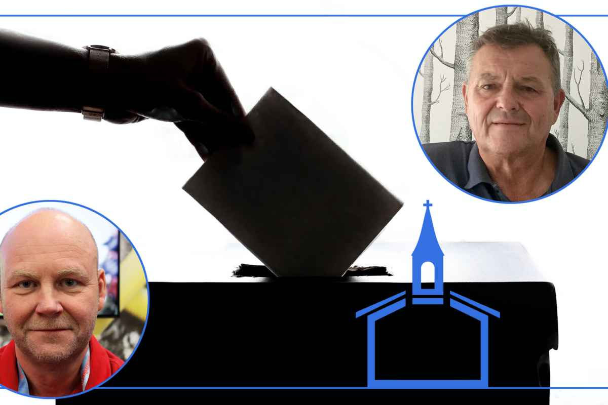 Bilder på Roland Ryberg och Lars Tintin Pettersson monterade över en bild på en hand som lägger en valsedel i en valurna, samt silhuetten av en stiliserad kyrka.