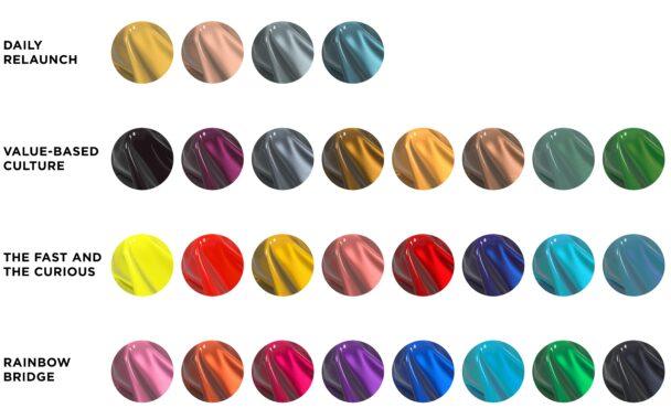 En färgpalett med 28 olika lackfärger