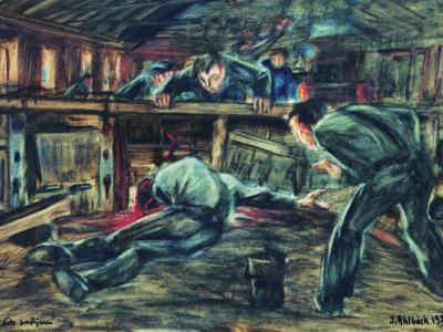 """Johan Ahlbäcks målning """"Den döde smörjaren""""."""