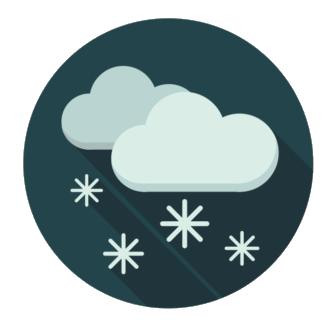 Tecknade moln som det snöar ifrån