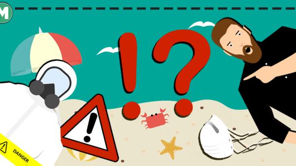 En tecknad strand där en tecknad man chockat pekar på en tecknad person i skyddsdräkt och gasmask.