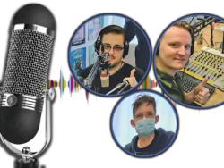 Bilder på Jesper Jinesjö, Johan Jonsson och Daniel Dellemark, monterade intill en bild på en stor minkrofon.