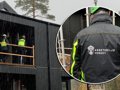 En bild på en person i Arbetsmiljöverkets jacka, monterad över en bild på två poliser på ett bygge